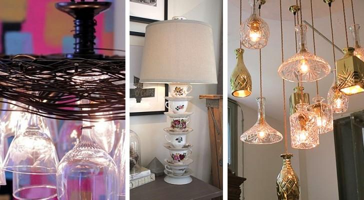 11 idee brillanti per trasformare tazze, bottiglie e bicchieri in fantastici lampadari