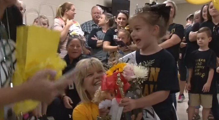 At the age of five, she is finally cured of leukemia and when she returns to school, they all organize a huge party for her