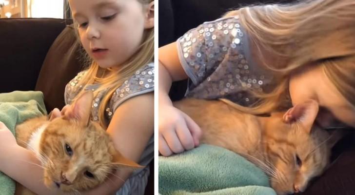 Neste vídeo comovente, uma menina de 4 anos canta uma linda música para o seu gato que está morrendo