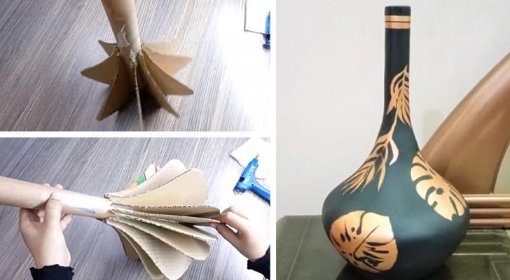 Il tutorial semplice per realizzare un elegante vaso con gesso e ritagli di cartone