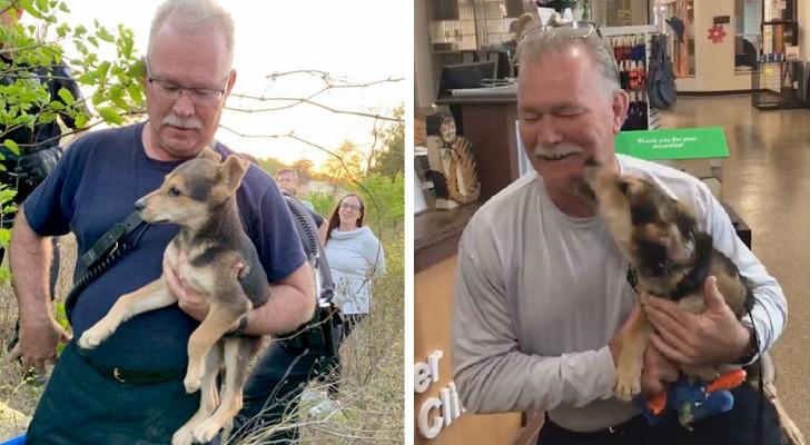 Ce courageux pompier sauve un chien piégé et décide de l'adopter aussitôt