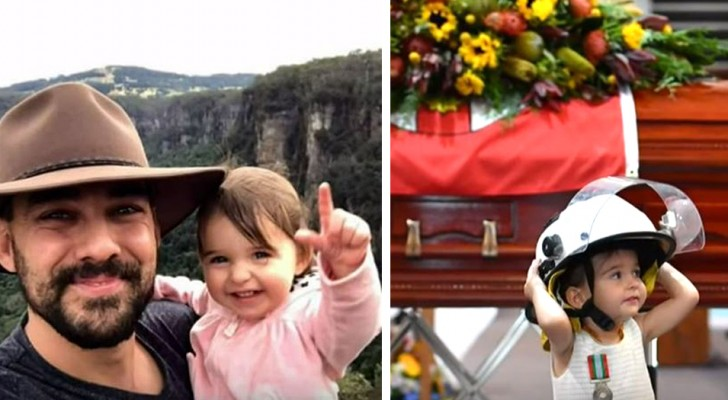 During his funeral, a little girl wears the helmet of her firefighter father killed in a bushfire in Australia