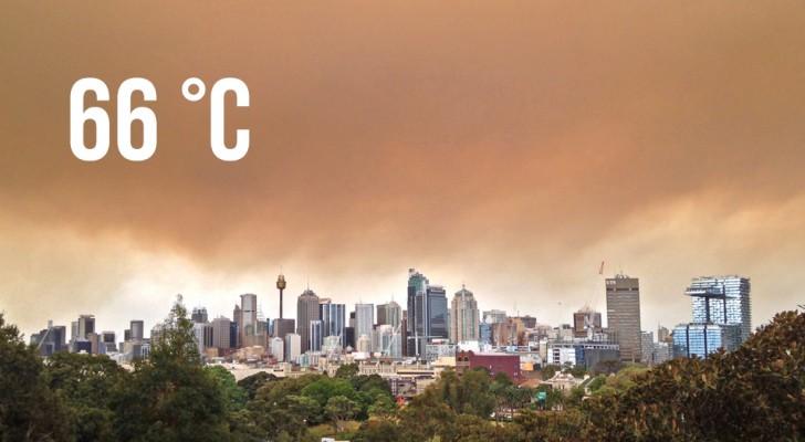 In een stad in Australië werd een recordtemperatuur van 66 graden geregistreerd vanwege de branden
