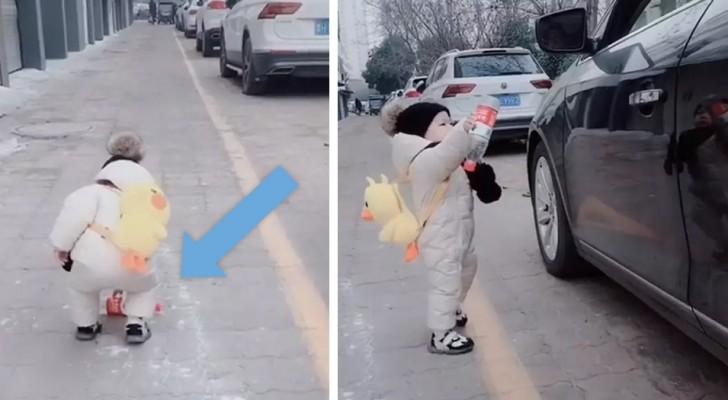 Getta una bottiglia di plastica fuori dal finestrino dell'auto ma un bimbo di 1 anno la raccoglie e gliela restituisce