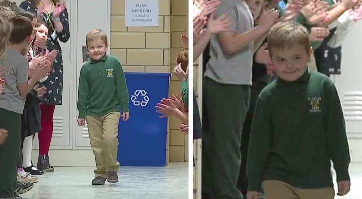 Vuelve a la escuela después de haber luchado 3 años contra la leucemia: los compañeros lo reciben con un río de aplausos