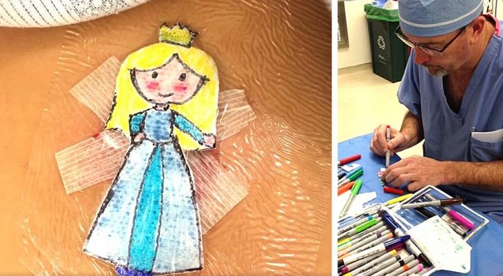 Dopo ogni intervento, questo chirurgo pediatrico disegna le medicazioni ai bambini con i loro personaggi preferiti