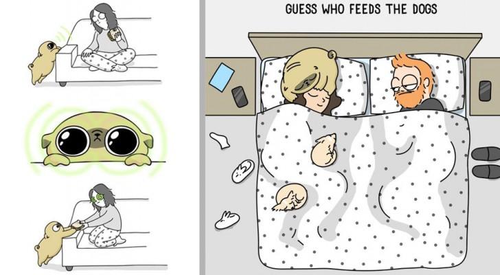 Queste simpatiche vignette illustrano alla perfezione cosa significa convivere con un cane