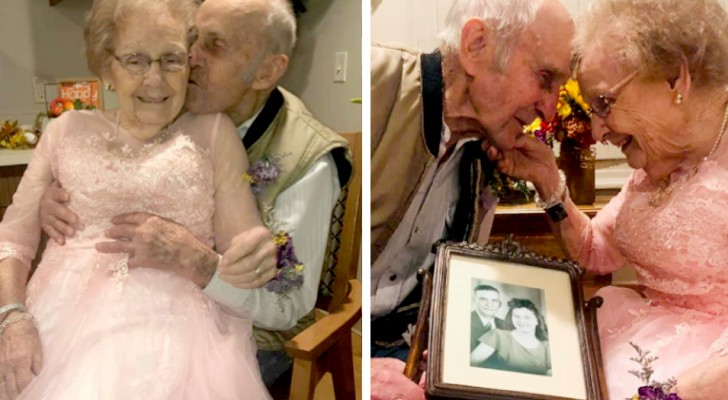Questa coppia ha festeggiato i 72 anni di matrimonio nella casa di riposo rivivendo quel magico momento