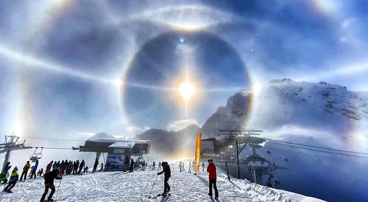Un skieur a réussi à immortaliser le splendide phénomène du halo de glace dans les Alpes suisses
