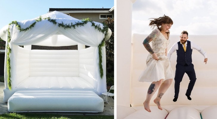 Un'azienda ti permette di noleggiare un castello gonfiabile per il giorno del tuo matrimonio