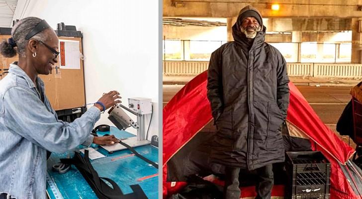 Una ragazza assume dei senzatetto per realizzare cappotti che diventano sacchi a pelo per i bisognosi