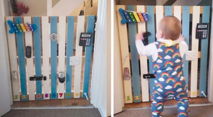 Um papai transforma um portão em uma parede cheia de brinquedos para acalmar a ira do filho de 9 meses