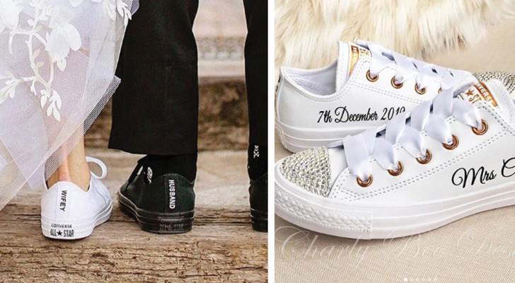 De plus en plus de mariées choisissent de ne pas porter de talons pour leur mariage : à la place, des baskets confortables et élégantes