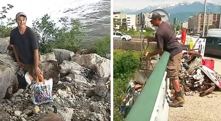 Después de haber perdido el trabajo, cada día este joven limpia la basura de los ríos, calles y parques