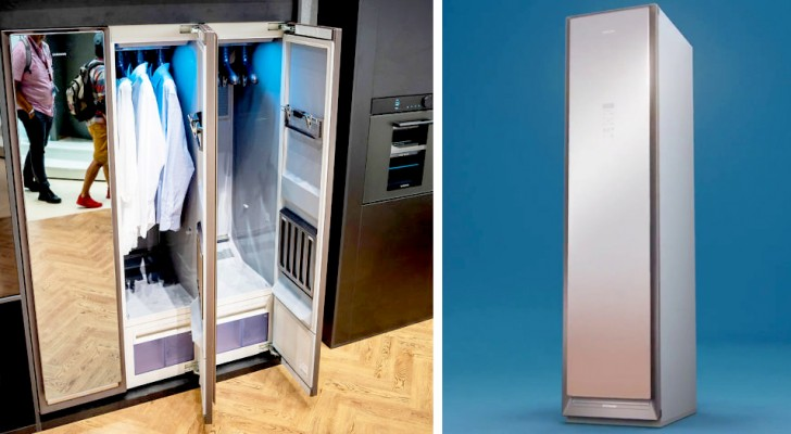 Samsung a présenté un dressing intelligent qui lave et repasse le linge sans gaspiller d'eau ni de détergents