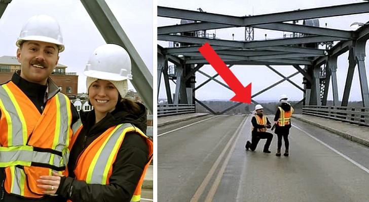 Deze ingenieur deed het huwelijksaanzoek aan zijn vriendin op de brug die ze samen hadden gebouwd