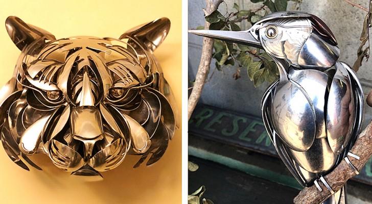 Questo artista modella posate e utensili da cucina per creare splendide sculture di animali