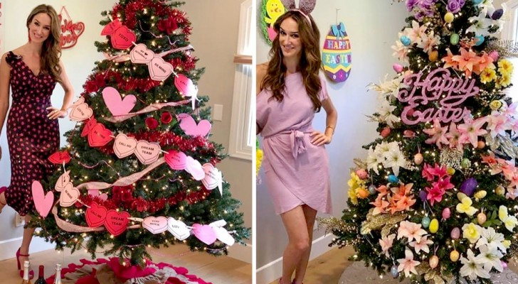 Woman decorates her Christmas tree all year long