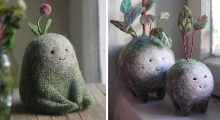 Cette artiste réussit à créer d'adorables personnages aux allures magiques en travaillant la laine cardée