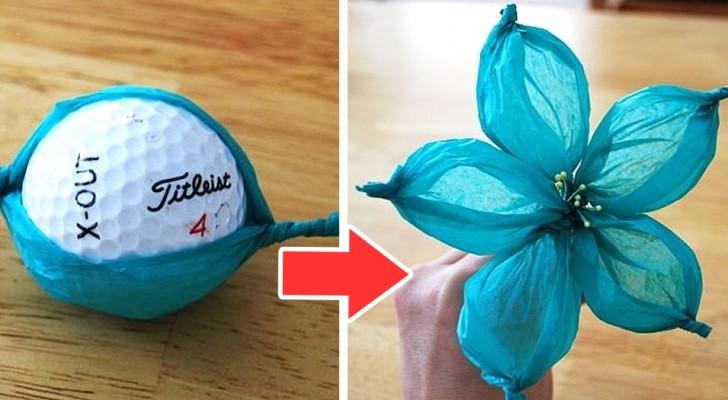 Il tutorial passo dopo passo per creare magnifici fiori di carta velina con una semplice pallina da golf