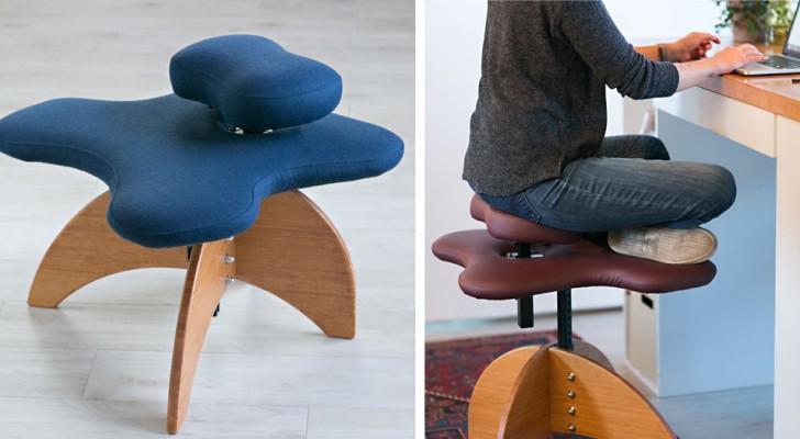 Hier kommt der Stuhl für all jene, die gerne mit gekreuzten Beinen am Schreibtisch sitzen...