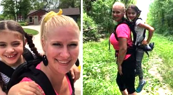 This teacher carried a disabled pupil on her shoulders so as not to exclude her from the school field trip