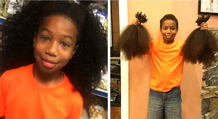 Per 2 anni, questo bimbo si è fatto crescere i capelli per fare parrucche da donare ai bambini malati di cancro