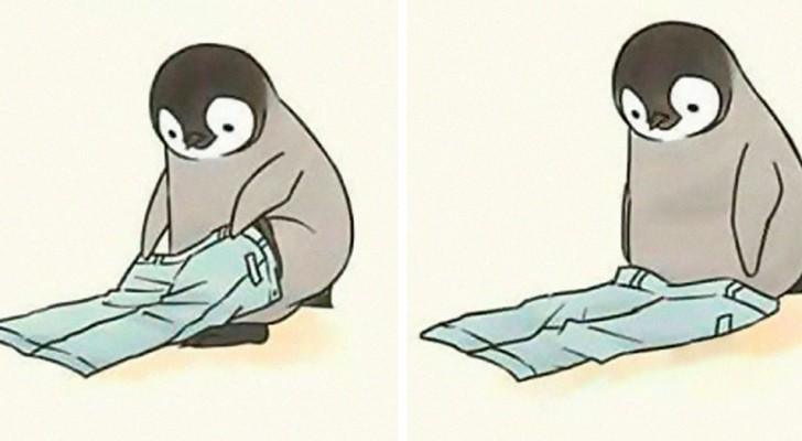 Deze artiest tekende scènes uit het dagelijks leven met een lieve maar onhandige pinguïn