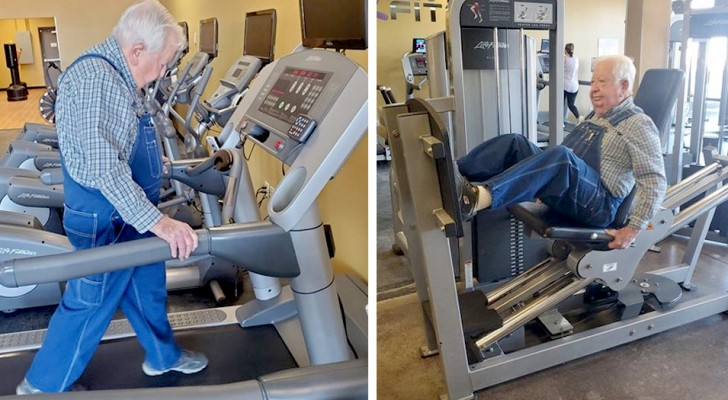 A 91-year-old man joins the gym: months later the management rewards him for his tenacity and willpower