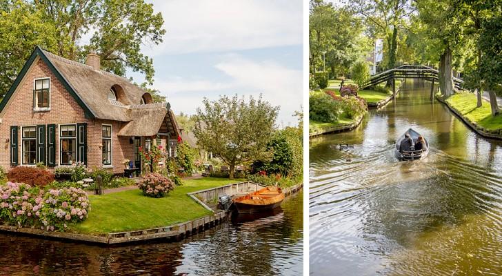 Dans ce village hollandais, les routes sont des voies d'eau traversées par des ponts et des barques silencieuses