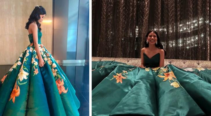 Ze maakt haar eigen jurk voor het eindejaarsbal, en schildert met de hand 80 prachtige bloemen
