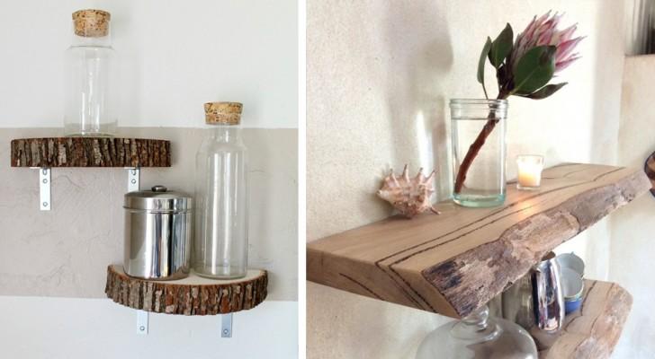 11 modi ingegnosi e sorprendenti per inserire le mensole rustiche di legno in un arredamento moderno