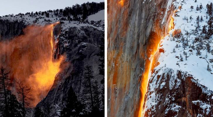 """Elk jaar in februari lijkt deze waterval in Californië """"in brand te staan"""" met het licht van de zonsondergang"""