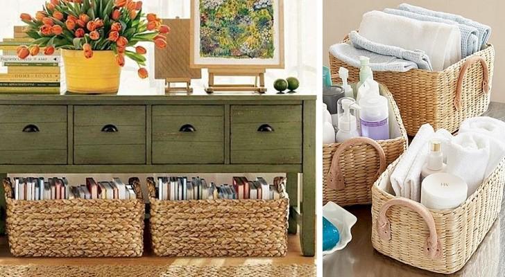 16 soluzioni creative per arredare e fare ordine con i cestini e liberare spazio in casa