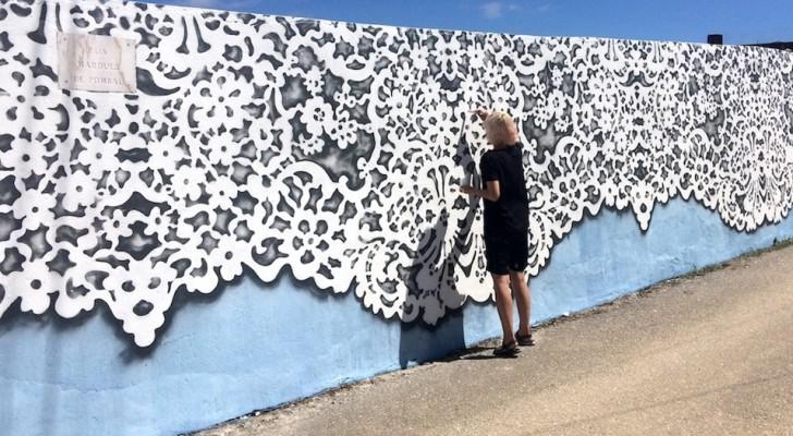 Dieses Mädchen reproduziert Spitzen mit perfekten geometrischen Formen an Wänden auf der ganzen Welt