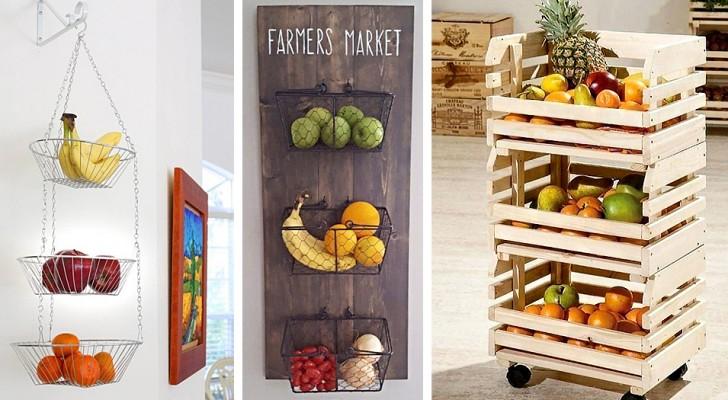 17 soluzioni ingegnose per sistemare facilmente la frutta anche nella cucina più piccola