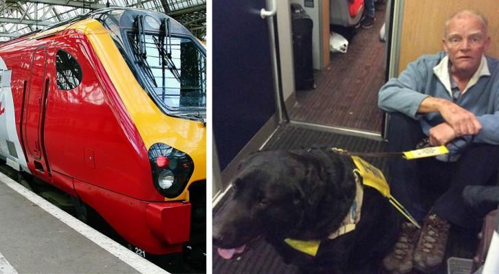 Ninguém cede o lugar no trem para este homem cego com seu cão-guia: ele foi obrigado a sentar no chão