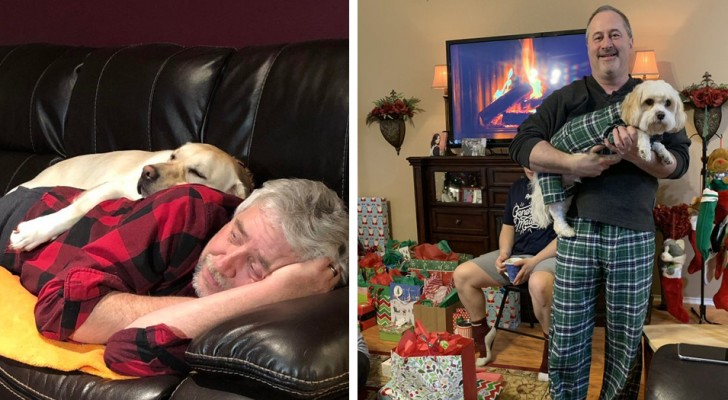 14 photos of dads who absolutely did not want a dog and who now can no longer do without it