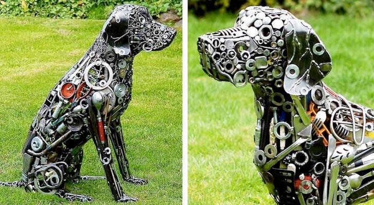 Dieser Künstler schafft lebensgroße Tierskulpturen mit Schrauben, Bolzen und Schrott