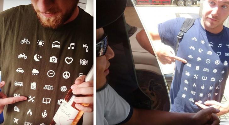 Un t-shirt avec 40 icônes universelles vous permet de communiquer avec quiconque lorsque vous voyagez dans un autre pays