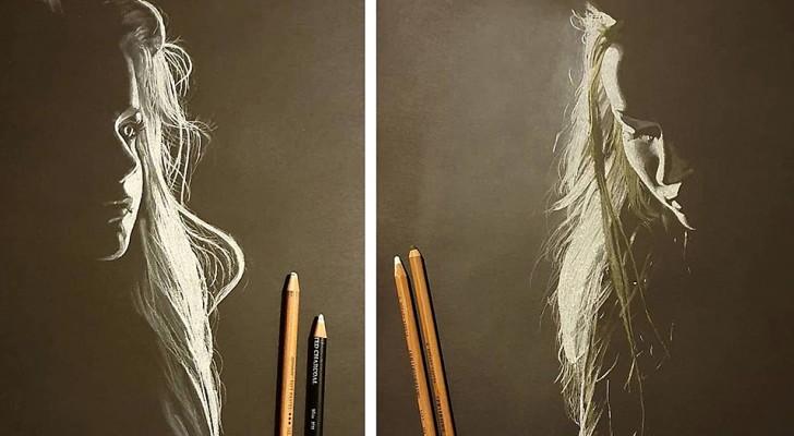 Un artista realizza splendidi ritratti al carboncino, illuminandoli con una luce che sembra quasi naturale