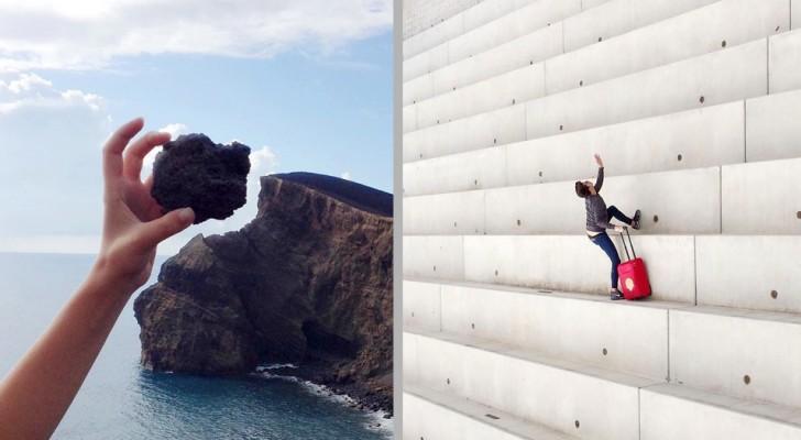 Deze fotograaf creëert ongelooflijke optische illusies zonder het gebruik van software of bewerkingsprogramma's