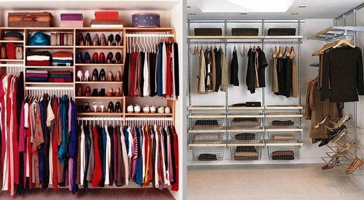 8 soluzioni geniali per organizzare una cabina armadio e dividere gli spazi in modo intelligente