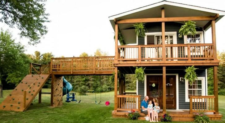 Dieser Papa hat für seine Töchter ein Spielhaus gebaut, das so groß ist, dass es wie ein bewohnbares Häuschen aussieht