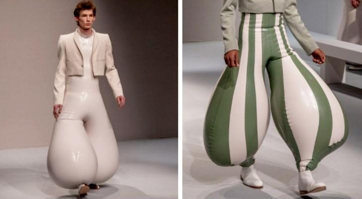 Un styliste a présenté sur les podiums des pantalons gonflables en latex aux formes déformées et colorées