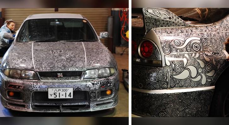 Dit meisje versierde de nieuwe auto van haar partner met de hand met mooie krabbels