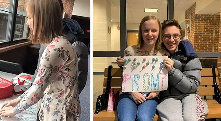 Teenage boy invites his blind girlfriend to prom, writing his message in Braille with pieces of chocolate.