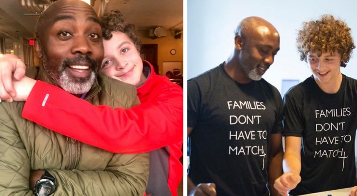 A single dad adopts an 11-year-old boy, showing that family is not a question of the color of their skin