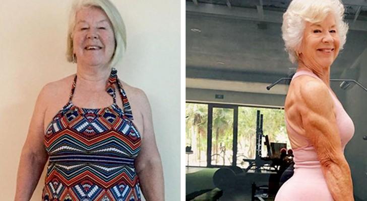 Esta señora de 73 años estaba en sobrepeso, pero siguiendo las lecciones de yoga de la hija ha perdido más de 50kg