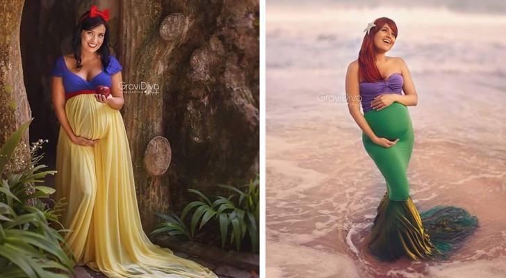 Een fotografe portretteert toekomstige moeders als Disney-prinsessen die trots hun babybuik laten zien